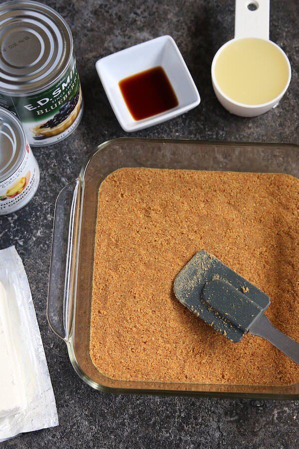 graham cracker crust pressed into 9x9 glass baking dish