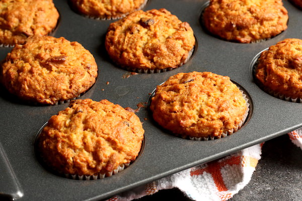 baked morning glory muffins in pan