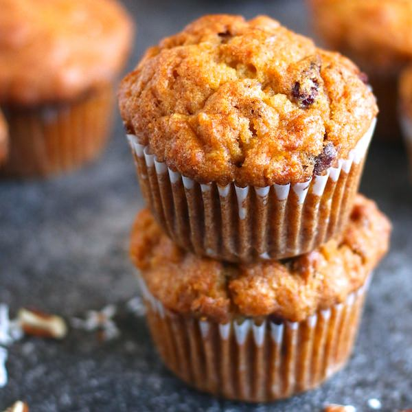 two morning glory muffins stacked