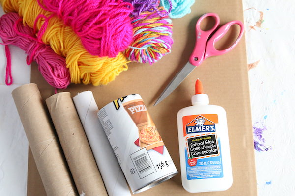 Yarn, Pringles can, paper towel rolls,