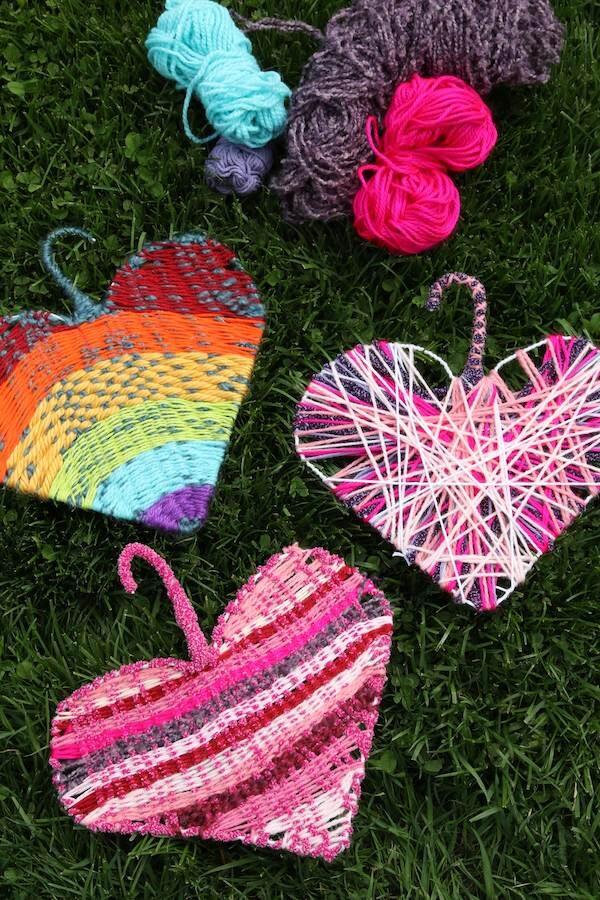 woven coat hanger hearts in grass
