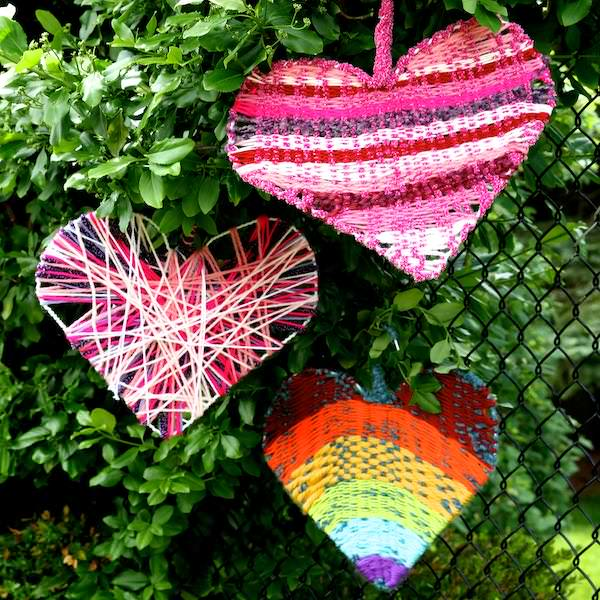 woven coat hanger hearts in tree square image