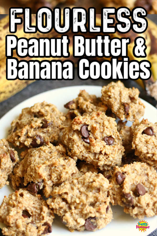 No Flour Peanut Butter Banana Oatmeal Chocolate Chip Cookies - Pin Image