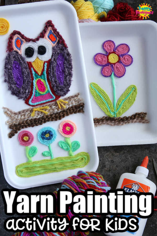 Huichol Inspired Yarn Art Owl and Flower