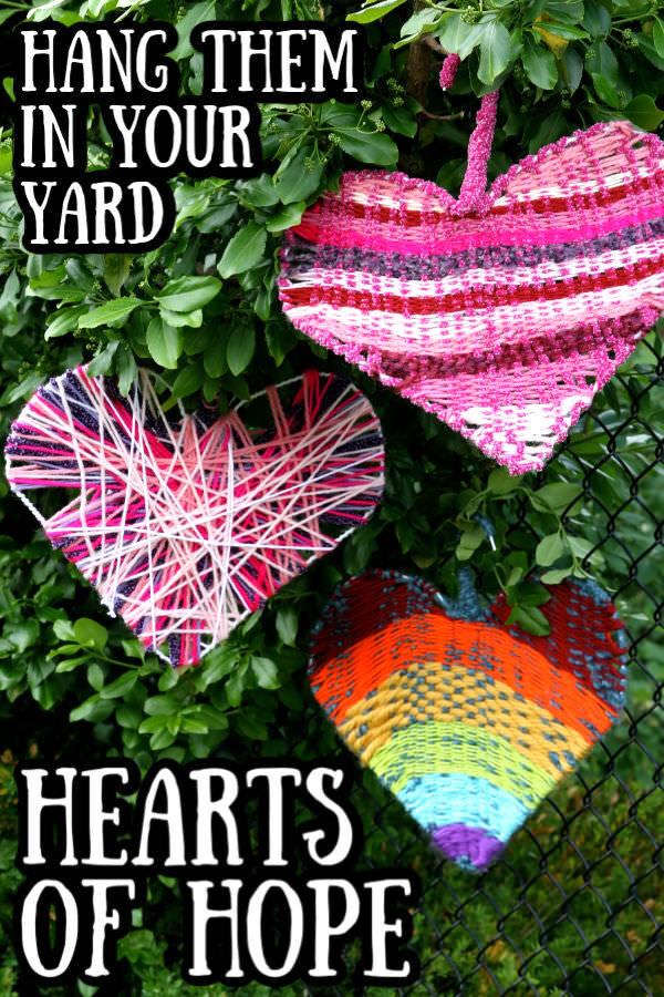Coat hanger weaving - hearts of hope pin image