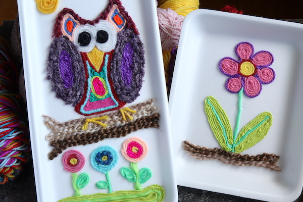 Yarn painting - owl and flower