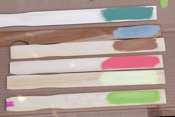 paint sticks with patches of colour