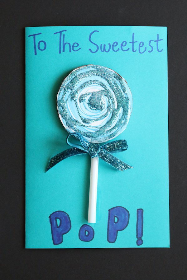 sweetest pop blue lollipop card