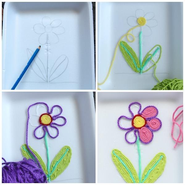 Step photos how to make yarn art flower