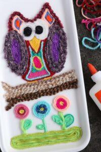 Huichol Inspired Yarn Art Owl