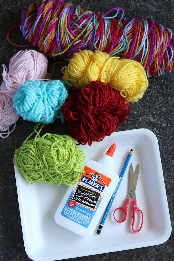 Yarn, Foam Tray, Glue, Pencil