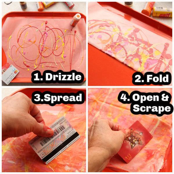 4 Photos showing scrape painting process