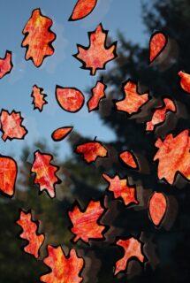 Fall Leaf Silhouettes on window
