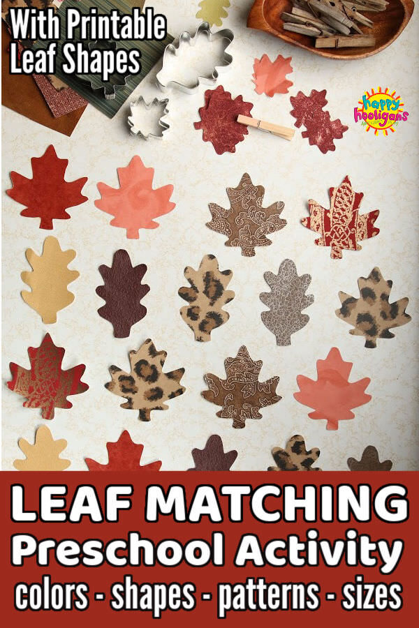 Fall leaf cookie cutters and leaf shapes cut out of wallpaper samples