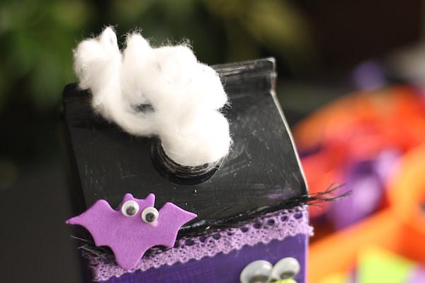cotton ball smoke in milk carton spout