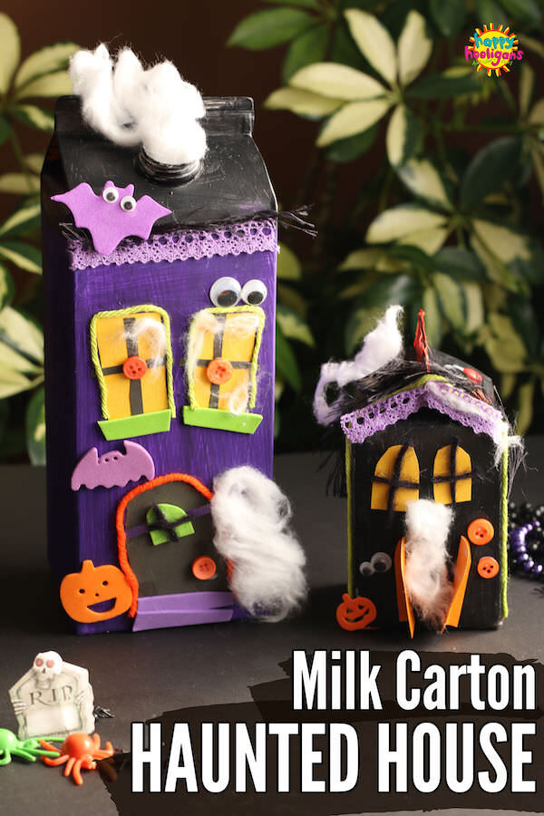 2 haunted houses made from cardboard milk cartons