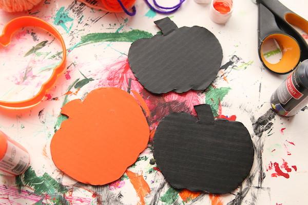 painted cardboard pumpkins