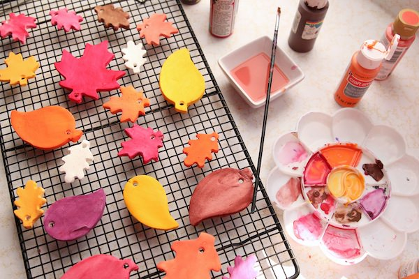painted white clay dough leaves