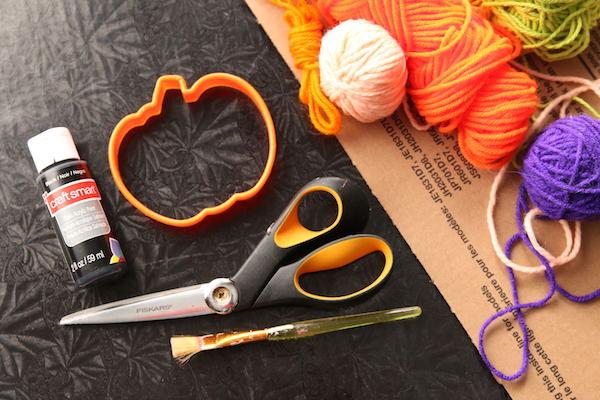 supplies for making cardboard pumpkin string art