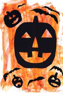 Painted Parchment Paper Halloween Silhouette Art Hung In Window Vertically