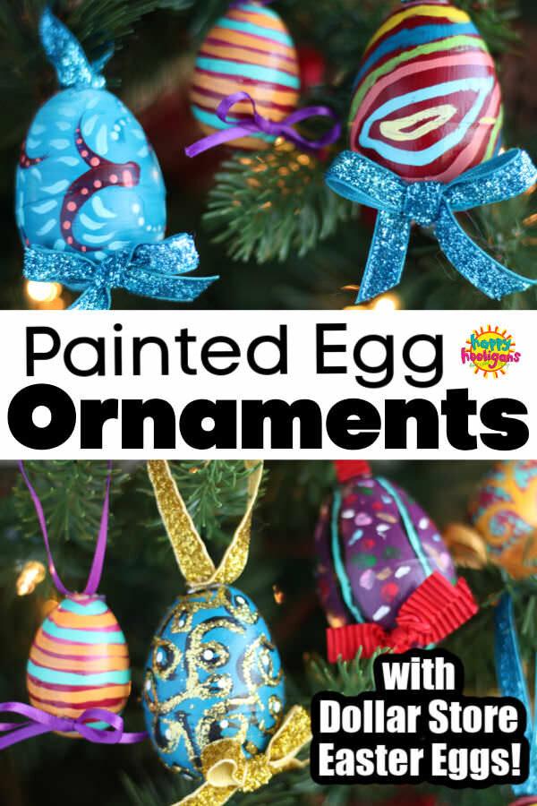 Painted Plastic Egg Christmas Ornaments