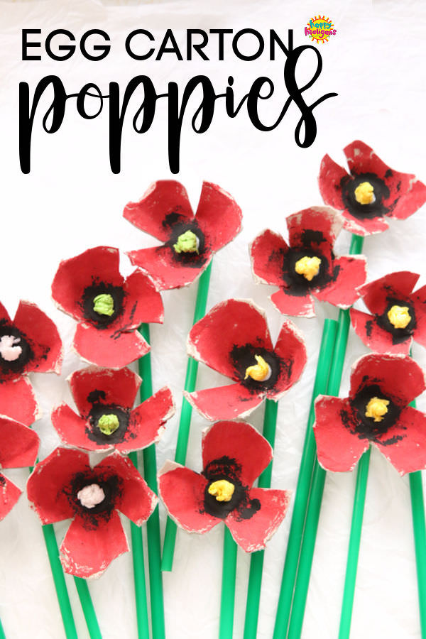 Egg Carton Poppies with green drinking straw stems