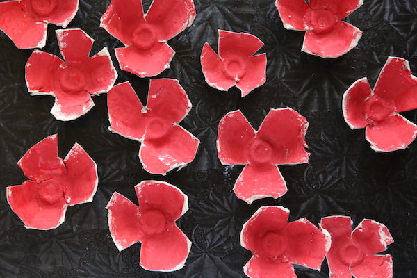 Egg carton poppies painted red