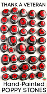40 Hand Painted Poppy Stones laid out vertically on white backdrop