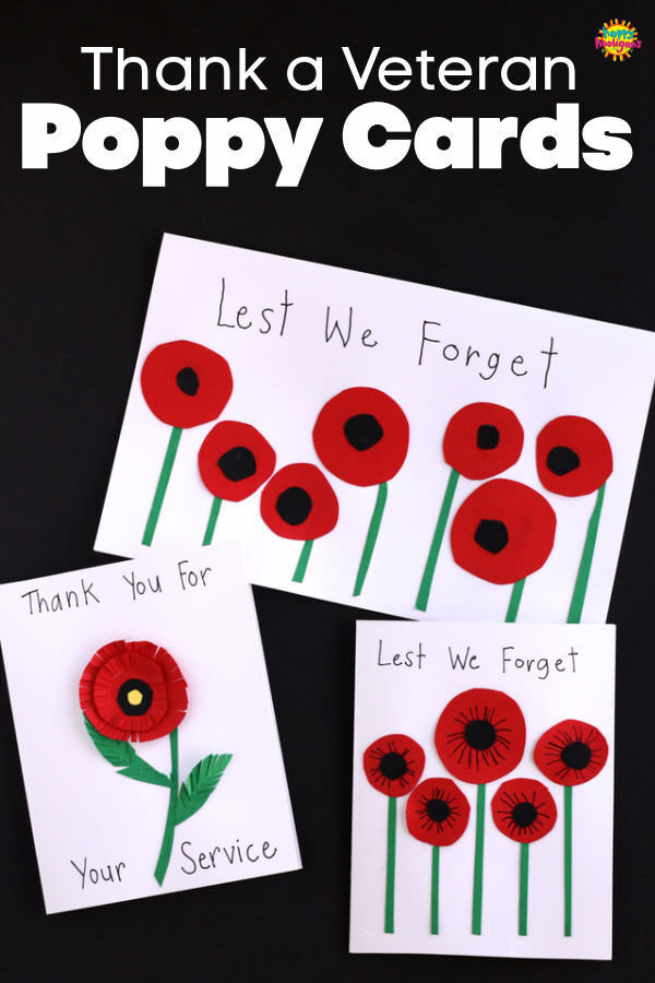 Homemade Poppy Cards Remembrance Day Craft for Kids