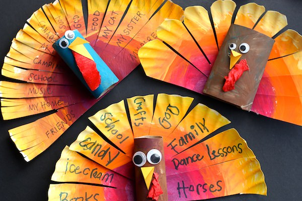 3 Paper Plate and cardboard roll turkeys displayed on back backdrop
