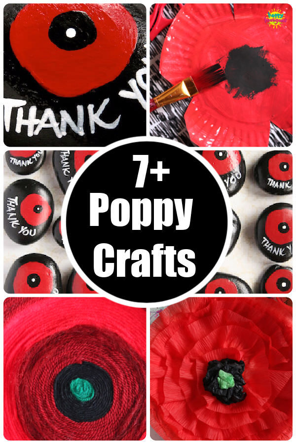 Collage of kid-made poppies for round up of poppy crafts for kids