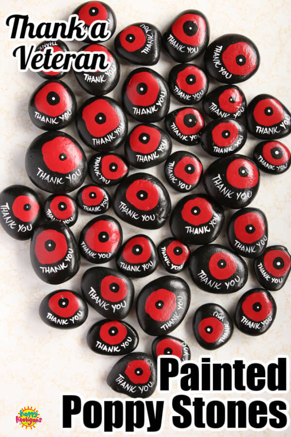 Hand Painted Poppy Stones for Rememberance Day, Veteran's Day o Anzac Day
