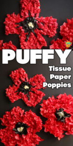 Twisted tissue paper poppy craft long pin