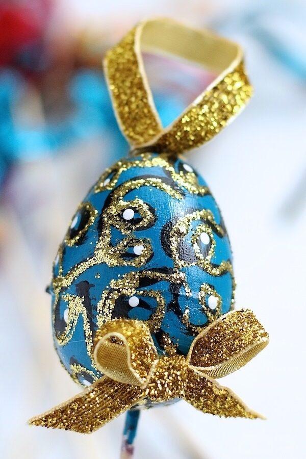 blue egg gold glitter gold ribbon