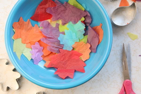 bowl of tissue paper leaves