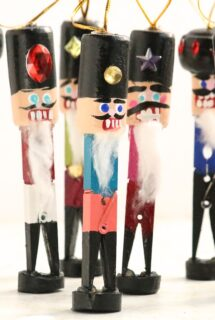 close up verticle cork and clothespin nutcracker ornaments