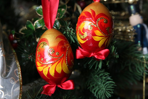 Eastern European Painted Eggs with Glitter and Ribbons
