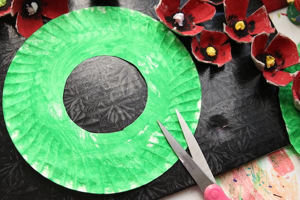 green paper plate scissors