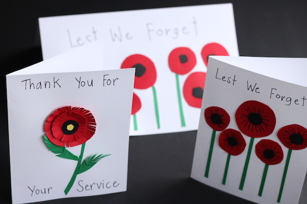 homemade remembrance day cards with circle poppies standing upright