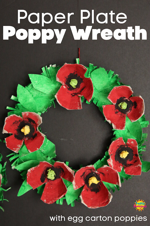 paper plate poppy wreath with egg carton poppies