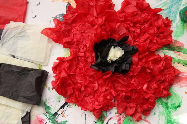puffy crumpled tissue paper poppy