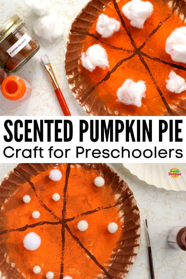 2 scented paper plate pumpkin pies with cotton balls and pom poms for whipped cream