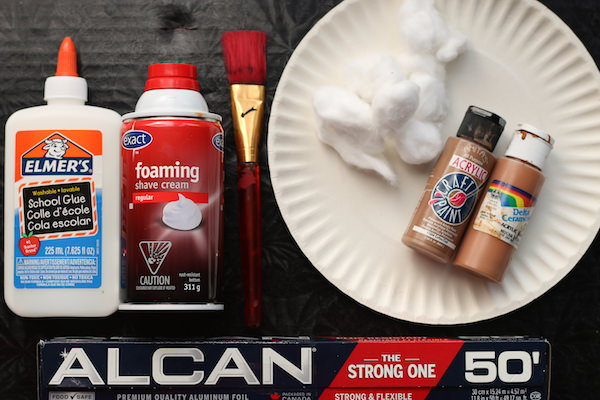 glue, shaving cream, paint brush, paper plate paint, cotton ball, tin foil