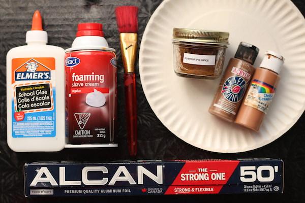 Glue, shaving cream, paper plate, brown paints, pumpkin pie spice