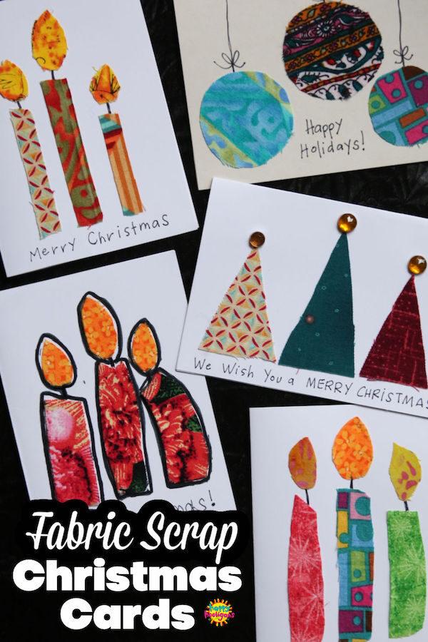 Homemade Fabric Scraps Christmas cards for kids