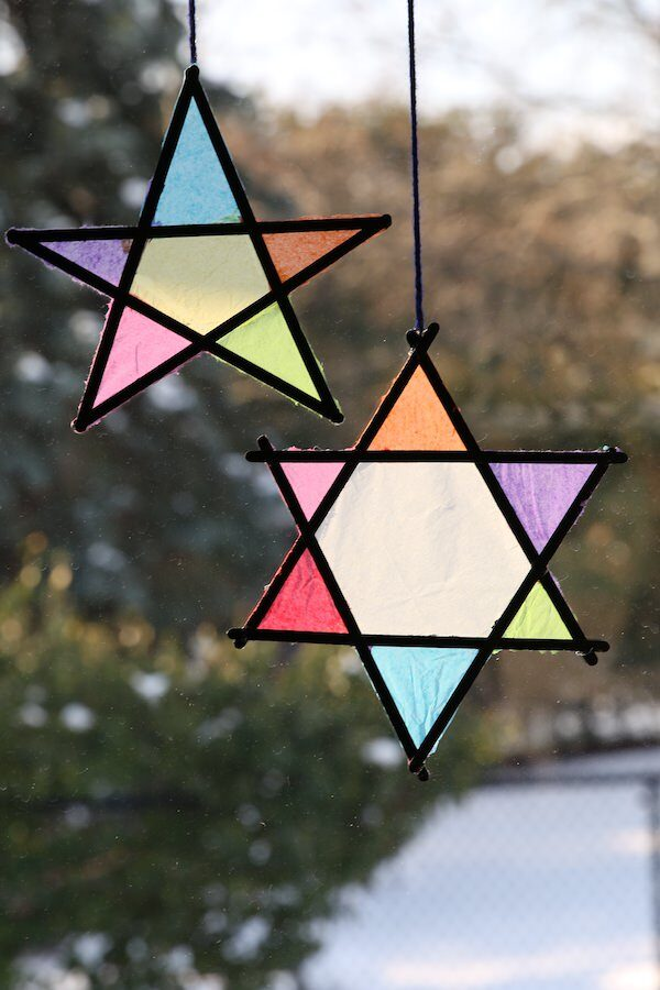 2-vibrant-stained-glass-tissue-paper-stars-in-window