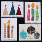 4 scrap fabric homemade Christmas cards collage