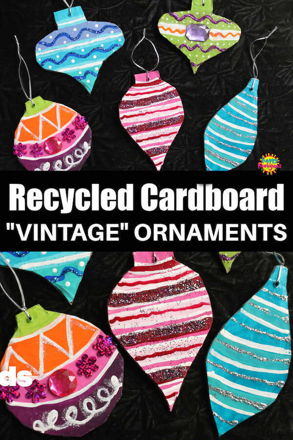 Cardboard Vintage Ornaments craft for kids