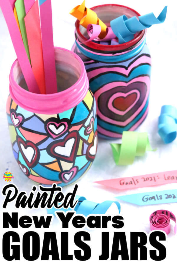 New Years Painted Jar Goal Setting Activity for Kids