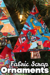 Cardboard and Fabric Scrap Christmas Tree Ornaments